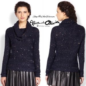 Alice+Olivia navy /gold cowlneck sweater